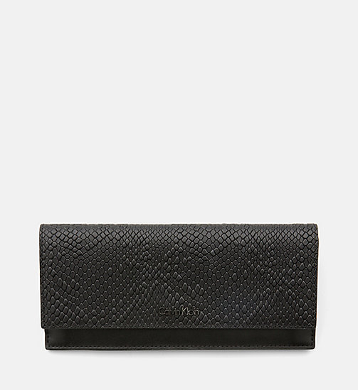 CALVINKLEIN Large Textured Trifold Wallet - BLACK - CALVIN KLEIN WALLETS - main image