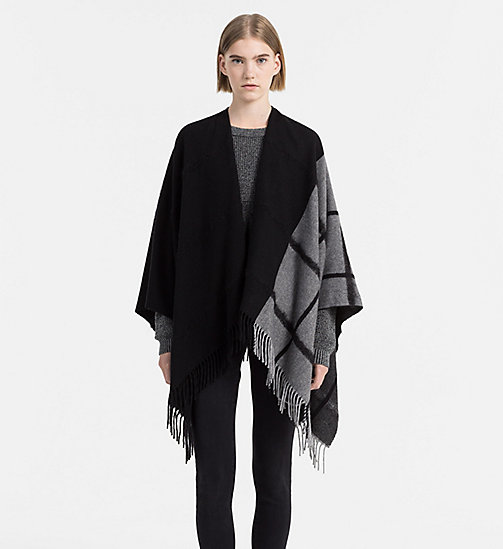 CALVINKLEIN Wool Blend Poncho - BLACK/SURPLUS - CALVIN KLEIN SCARVES - detail image 1