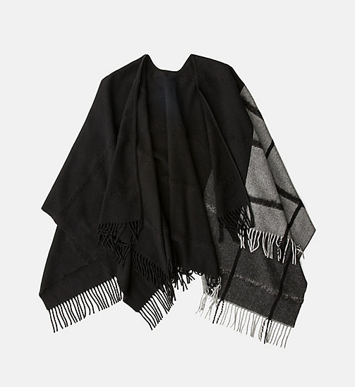 CALVINKLEIN Wool Blend Poncho - BLACK/SURPLUS - CALVIN KLEIN SCARVES - main image