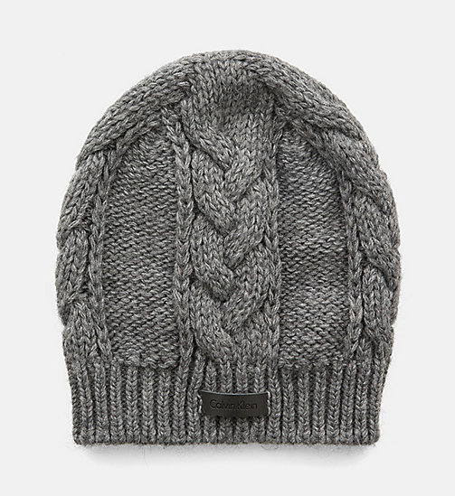 CALVINKLEIN Cable Knit Beanie - STEEL GREY MIX - CALVIN KLEIN HATS - main image