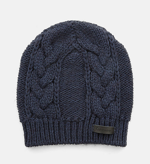 CALVINKLEIN Cable Knit Beanie - BLUE NIGHT MIX - CALVIN KLEIN HATS - main image