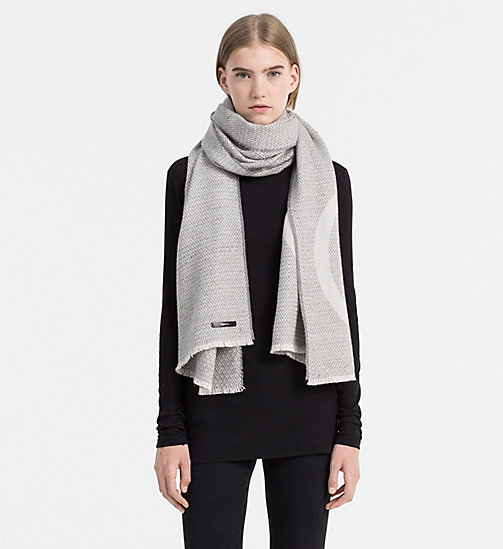 CALVINKLEIN Wool Blend Textured Scarf - STEEL GREY - CALVIN KLEIN SCARVES - detail image 1