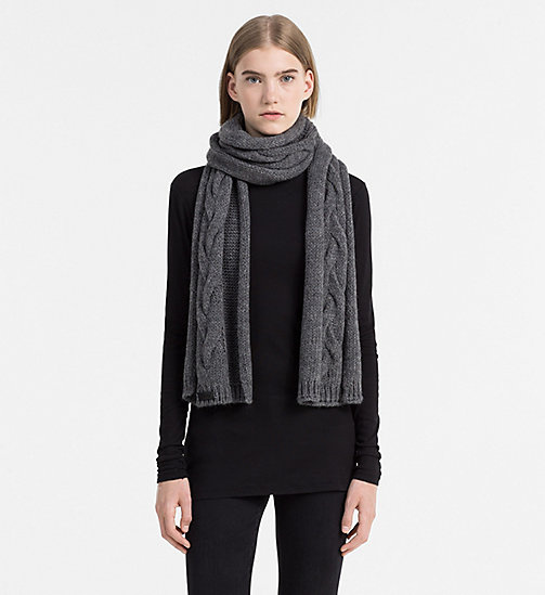 CALVINKLEIN Cable Scarf - STEEL GREY MIX - CALVIN KLEIN SCARVES - detail image 1