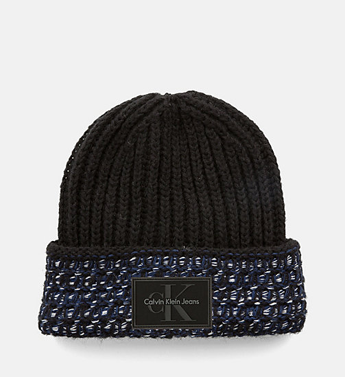 CALVINKLEIN Heavy Knit Beanie - BLACK/POWDER WHITE/OMBRE BLUE - CALVIN KLEIN HATS - main image
