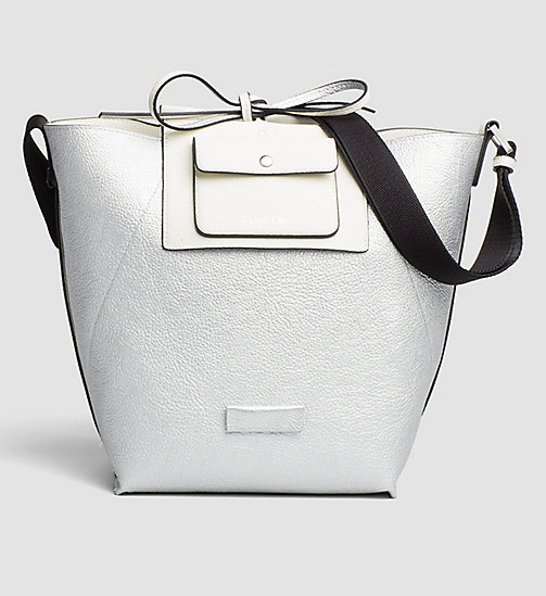CALVINKLEIN Reversible Metallic Bucket Bag - POWDER WHITE - CALVIN KLEIN HOBO BAGS - detail image 1