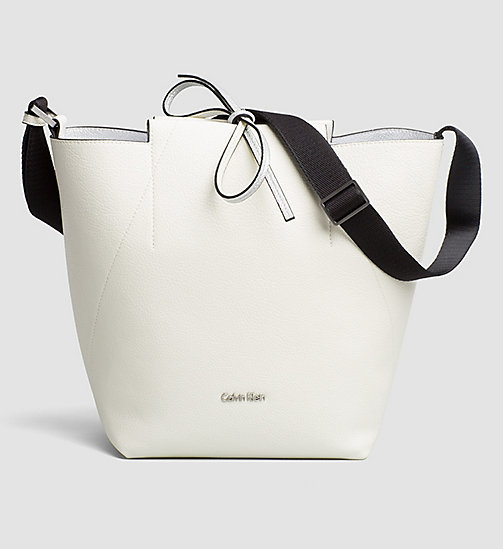 CALVINKLEIN Reversible Metallic Bucket Bag - POWDER WHITE - CALVIN KLEIN HOBO BAGS - main image