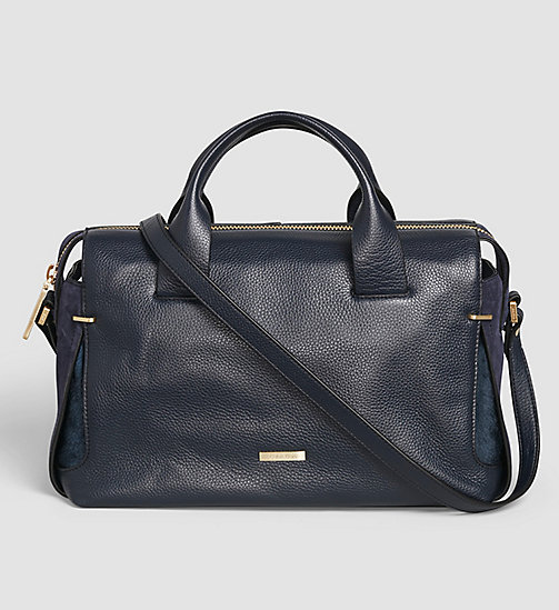 CALVINKLEIN Leather Duffle Bag - BLUE NIGHT - CALVIN KLEIN DUFFLE BAGS - main image