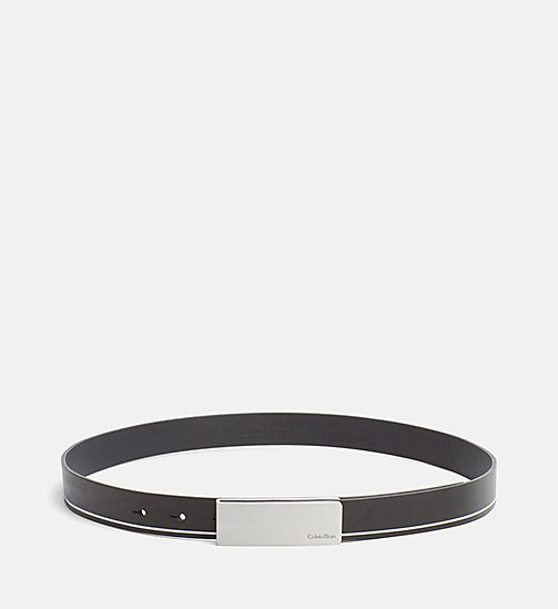 CALVINKLEIN Curved Plaque Leather Belt - BLACK - CALVIN KLEIN GIFTS FOR HER - main image