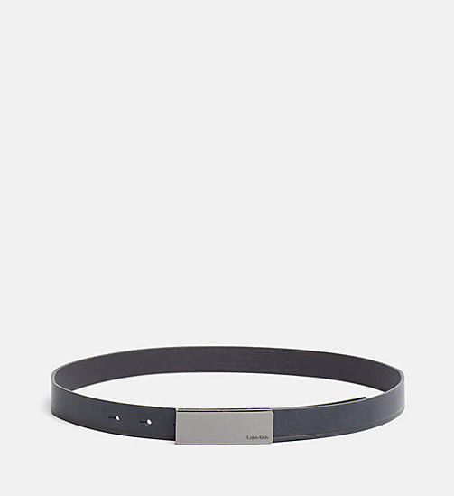 CALVINKLEIN Curved Plaque Leather Belt - BLUE NIGHT - CALVIN KLEIN GIFTS FOR HER - main image