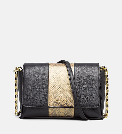 Medium Leather Satchel - BLACK / STRIPE SNAKE - CALVIN KLEIN  - main image