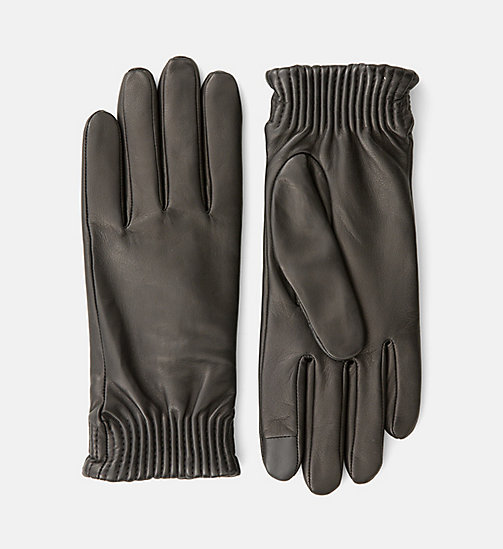 CALVINKLEIN Leather Gloves - BLACK - CALVIN KLEIN GLOVES - main image