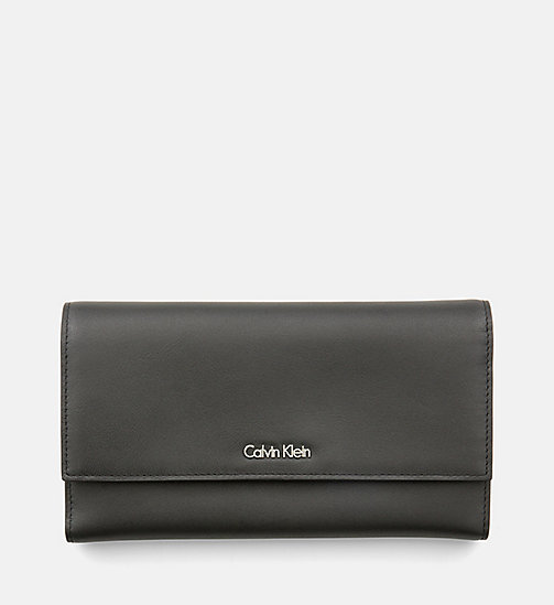 Leather Trifold Wallet - BLACK - CALVIN KLEIN  - main image