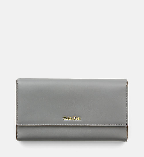 Leather Trifold Wallet - STEEL GREY - CALVIN KLEIN SHOES & ACCESSORIES - main image