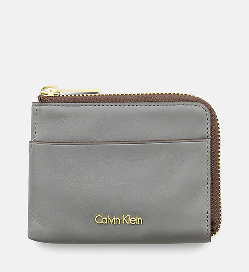 CALVINKLEIN Leather Zip-Around Cardholder - STEEL GREY - CALVIN KLEIN SHOES & ACCESSORIES - main image