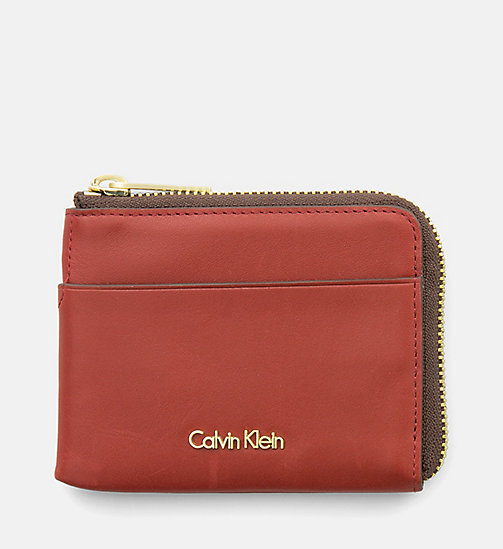 CALVINKLEIN Leather Zip-Around Cardholder - HENNA - CALVIN KLEIN SHOES & ACCESSORIES - main image