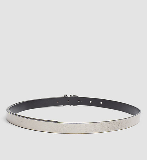 Skinny Leather Waist Belt - GUNMETAL - CALVIN KLEIN  - detail image 1