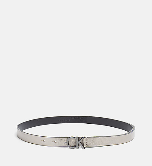 CALVINKLEIN Skinny Leather Waist Belt - GUNMETAL - CALVIN KLEIN SHOES & ACCESSORIES - main image