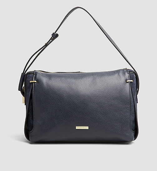 CALVINKLEIN Leather Satchel - BLUE NIGHT - CALVIN KLEIN HOBO BAGS - main image
