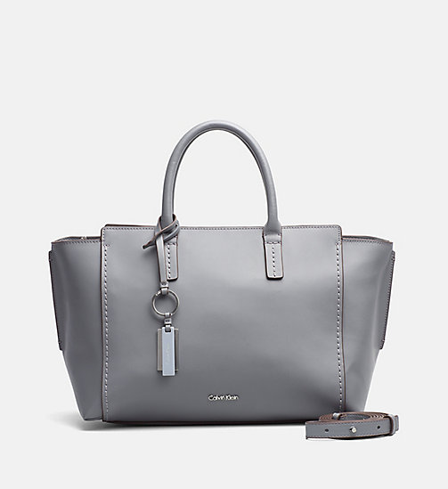 Leather Tote Bag - STEEL GREY - CALVIN KLEIN SHOES & ACCESSORIES - main image