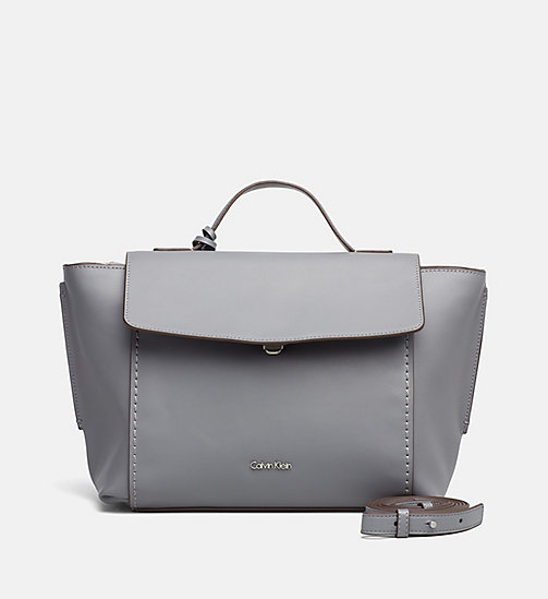 CALVINKLEIN Leather Top Handle Satchel - STEEL GREY - CALVIN KLEIN SHOES & ACCESSORIES - main image