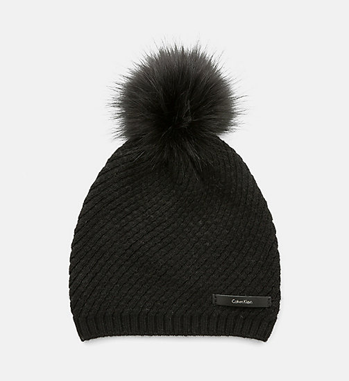 CALVINKLEIN Twist Wool Blend Beanie - BLACK - CALVIN KLEIN HATS - main image