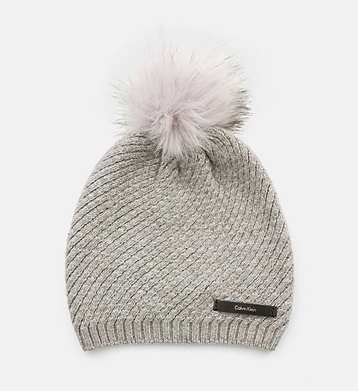 CALVINKLEIN Twist Wool Blend Beanie - STEEL GREY - CALVIN KLEIN ACCESSORIES - main image