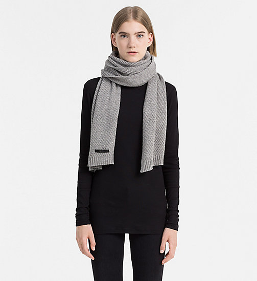 CALVINKLEIN Twist Wool Blend Scarf - STEEL GREY - CALVIN KLEIN SCARVES - detail image 1