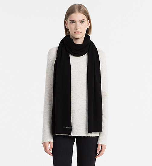 CALVINKLEIN Wool/Cashmere Blend Scarf - BLACK - CALVIN KLEIN SHOES & ACCESSORIES - detail image 1