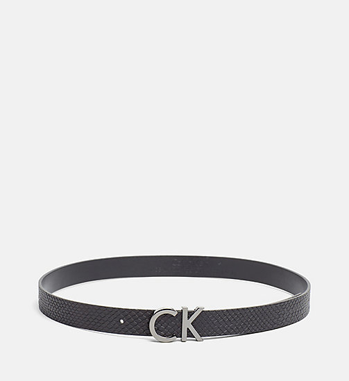 Leather Snake Belt - BLACK - CALVIN KLEIN SHOES & ACCESSORIES - main image