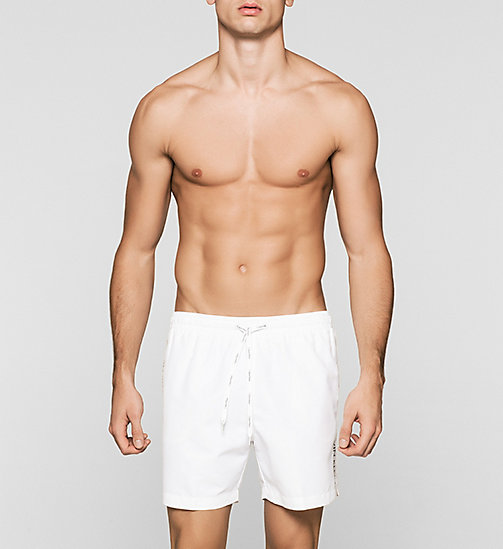 CALVINKLEIN Swim Shorts - Logo Tape - WHITE - CALVIN KLEIN SWIMWEAR - main image