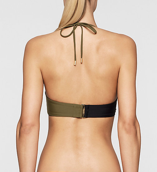 CALVINKLEIN Bandeau Bikini Top - Core Color Block - BLACK/MILITARY GREEN - CALVIN KLEIN SWIMWEAR - detail image 1