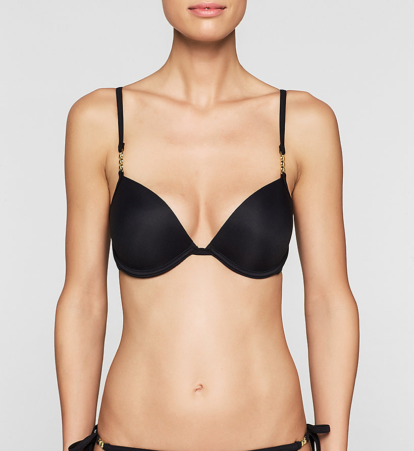 CALVINKLEIN Push-Up Bikini Top - Core Solids - BLACK - CALVIN KLEIN SWIMWEAR - main image