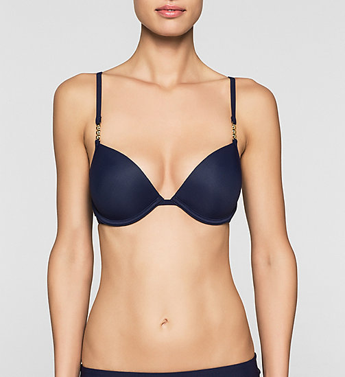 CALVINKLEIN Push-Up Bikini Top - Core Solids - DEEP INDIGO - CALVIN KLEIN SWIMWEAR - main image