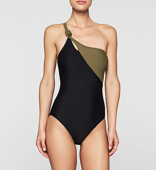 CALVINKLEIN Swimsuit - Core Color Block - BLACK/MILITARY GREEN - CALVIN KLEIN UNDERWEAR - main image