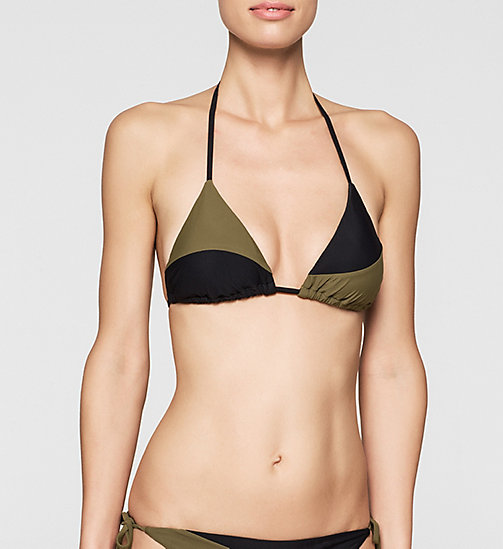 Triangelbikinitop - Core Color Block - BLACK/MILITARY GREEN - CALVIN KLEIN BADMODE - main image