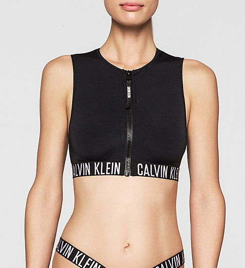 CALVINKLEIN Cropped Rash Vest - Intense Power - BLACK - CALVIN KLEIN  - main image
