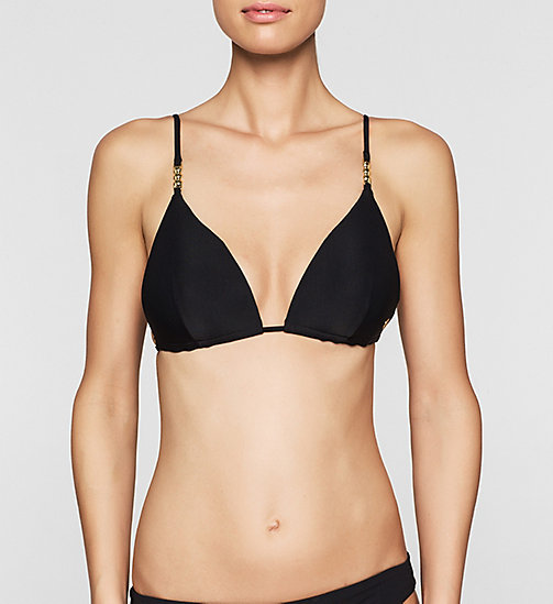 CALVINKLEIN Triangle Bikini Top - Core Solids - BLACK - CALVIN KLEIN SWIMWEAR - main image