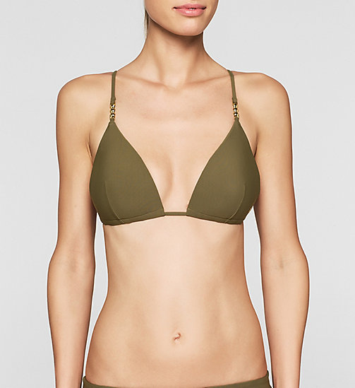 CALVINKLEIN Triangle Bikini Top - Core Solids - MILITARY OLIVE - CALVIN KLEIN SWIMWEAR - main image