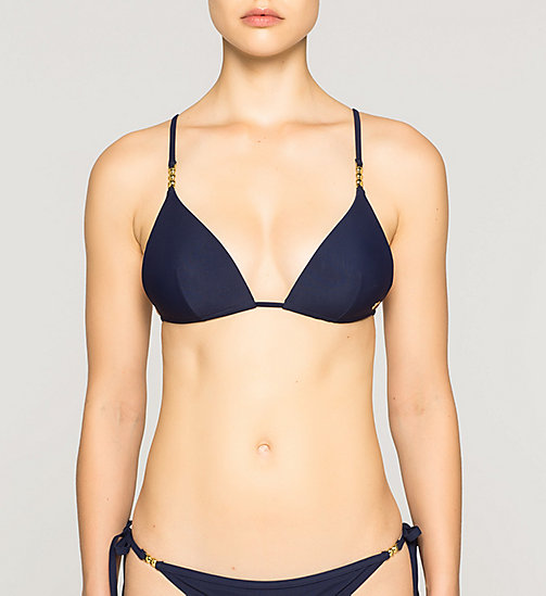 CALVINKLEIN Triangle Bikini Top - Core Solids - DEEP INDIGO - CALVIN KLEIN SWIMWEAR - main image