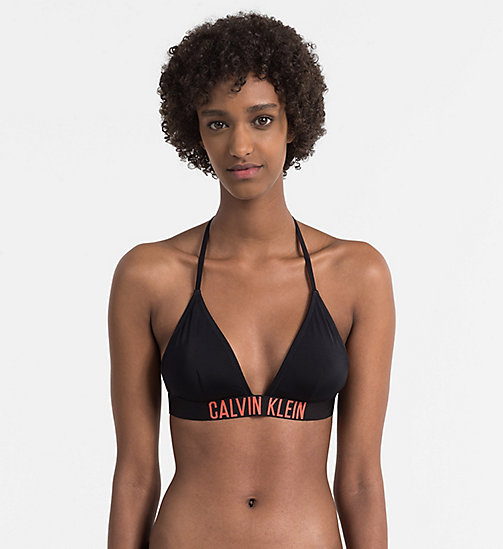 Triangle Bikini Top - Intense Power - BLACK / HOT CORAL - CALVIN KLEIN SWIMWEAR - main image