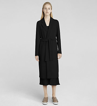 CALVIN KLEIN COLLECTION Stretch Cady Belted Coat W71C003COL001