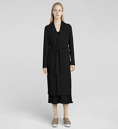 CKCOLLECTION Stretch Cady Belted Coat - JET BLACK - CK COLLECTION  - main image