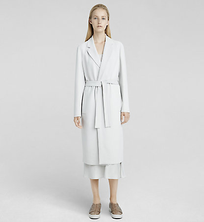 CALVIN KLEIN COLLECTION Stretch Cady Belted Coat W71C003COL074