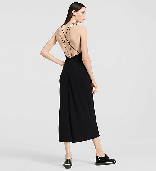 CKJEANS Stretch Cady Evening Halter Dress - JET BLACK - CK COLLECTION DRESSES - detail image 1