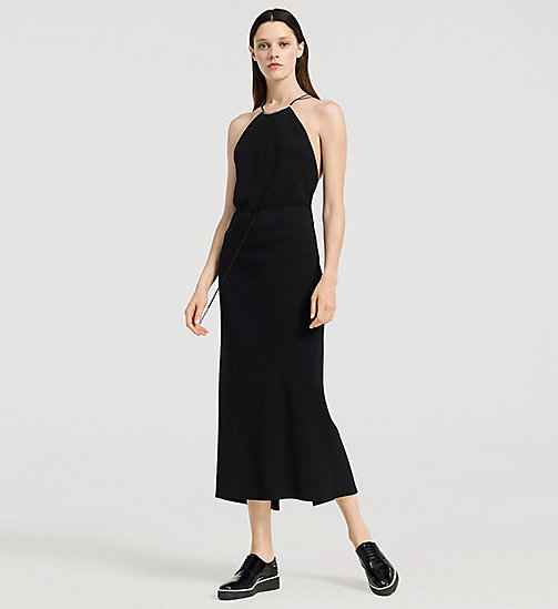 CKJEANS Stretch Cady Evening Halter Dress - JET BLACK - CK COLLECTION DRESSES - main image