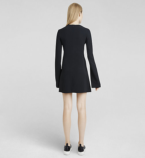 CALVINKLEIN Stretch Cady V-Neck Dress - JET BLACK - CK COLLECTION DRESSES - detail image 1