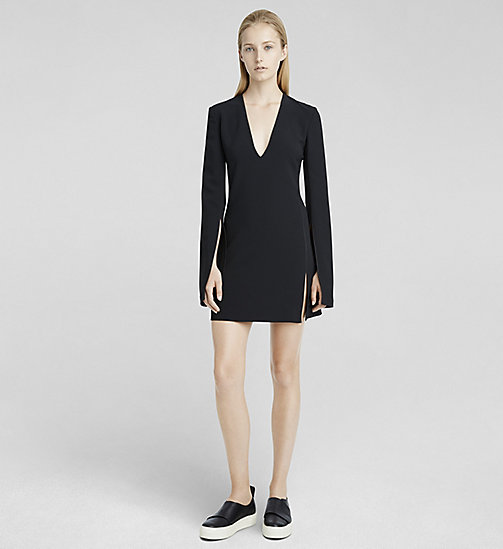 CKCOLLECTION Stretch Cady V-Neck Dress - JET BLACK - CK COLLECTION  - main image