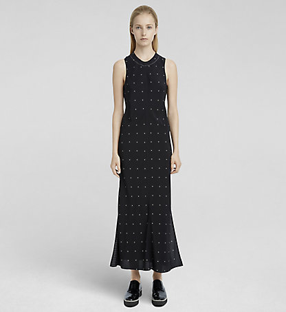 CALVIN KLEIN COLLECTION Mixed Dot Double Layer Silk Dress W71D048COL932