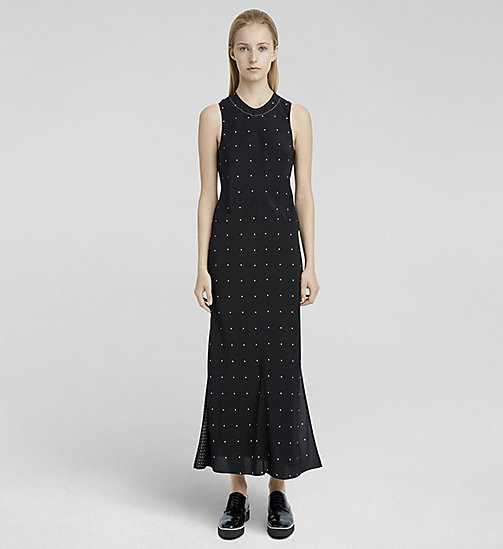 CALVINKLEIN Mixed Dot Double Layer Silk Dress - BLACK MULTICOLOR - CK COLLECTION DRESSES - main image