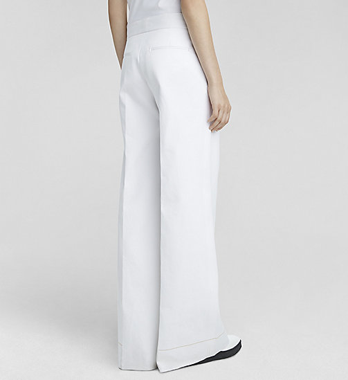 CALVINKLEIN Double Cotton Palazzo Trousers - WHITE - CK COLLECTION TROUSERS - detail image 1